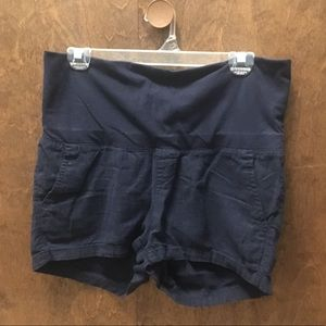 XS Navy Linen Maternity Shorts